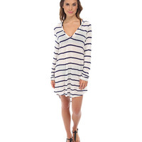 Splendid Untamed Hooded Tunic Cover-Up Navy - 6pm.com