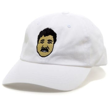 El Chapo white dad hat by Roberto Vincenzo