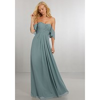 Morilee Bridesmaids 21571 Boho Off the Shoulder Chiffon Bridesmaid Dress