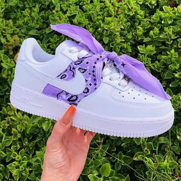 elainse29 Nike Air Force1 AF1 silk scarf retro cashew nut headband square scarf Bandana bow Purple
