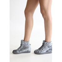 Grey Velvet High Top Sneakers