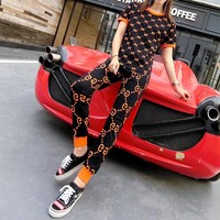 """Gucci"" Women Casual Fashion GG Letter Multicolor Short Sleeve Trousers Set Two-Piece Sportswear"