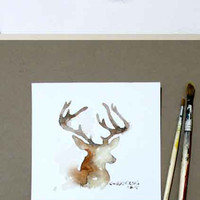Original Watercolor Painting Deer / Original Abstract Painting - original contemporary fine art - drawing on paper - abstract