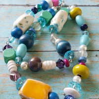 Colorful Assemblage / Rosary Style Jewelry / Upcycled Glass Beads / Boho Beaded Necklace / Retro Style Jewelry / Yellow Assemblage