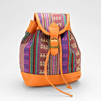 Boho Aztec Baby Backpack, Tribal Chic Leather Trim Bag - Purple/Pink
