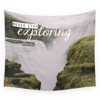 Society6 Gullfoss, Iceland - Never Stop Exploring Wall Tapestry