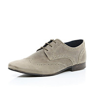 River Island MensStone suede lace up brogues