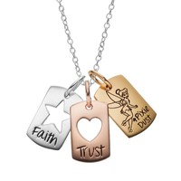 Disney's Tinker Bell Sterling Silver Tri-Tone Charm Pendant Necklace (Grey)