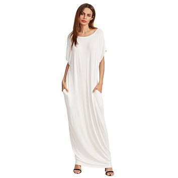Women's Short Sleeve Loose Long Maxi Lounge Dress With Pockets