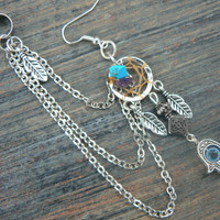 ONE hamsa hand dreamcatcher chained ear cuff turquoise and amethyst cuff in boho gypsy hippie hipster Indie Moroccan tribal fusion style