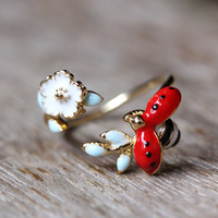 Ladybug on Floral Branch Ring Women's Girl's nature Theme Insect Bug Ring Adjust