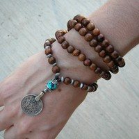 108 Bead Mala Necklace or Bracelet , Wood Prayer Beads with Vintage Coin Pendant