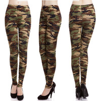 New Sexy Camouflage Army Floral Print Stretch Leggings Graffiti Tights Trousers