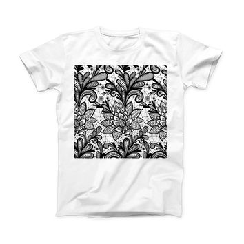 The Black and White Geometric Floral ink-Fuzed Front Spot Graphic Unisex Soft-Fitted Tee Shirt