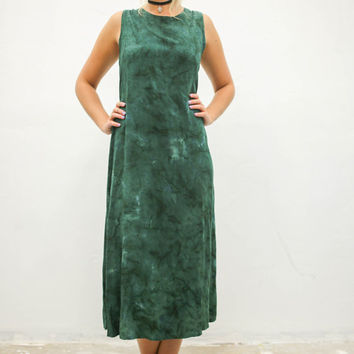 vtg 90s green mineral wash maxi dress, acid tie dye summer tank, 1990s vintage tumblr, urban outfitters, fashion vaporwave aesthetic