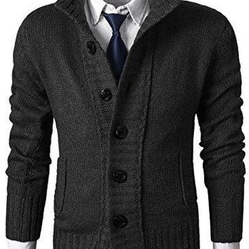 MIEDEON Mens Casual Stand Collar Cable Knitted Button Down Cardigan Sweater (XL, Black2)