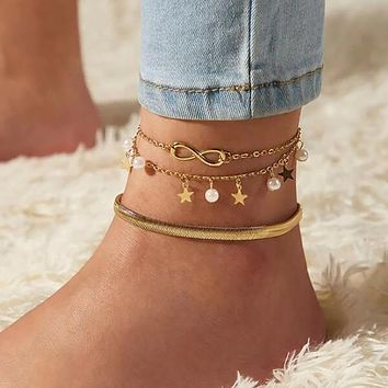 Shells Sea Waves Whale Tail Lucky Multilevel Pendant Anklet Fashion Handmade Beaded Anklet Jewelry