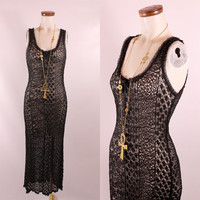Vintage 90s Betsey Johnson - See Through Delicate Black Daisy Floral Crochet Lace - Tank Top Hourglass Wiggle Long Maxi Dress - Goth Grunge