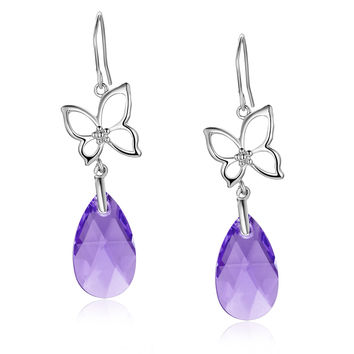 Silvery Butterfly Pear Drop Swarovski Elements Crystal Dangle Earrings - Purple