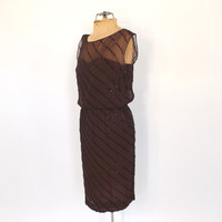 Vintage HARDY AMIES Dress 1960s Chocolate Brown Beaded Cocktail Dress Bombshell Mod 60s Fitted Illusion Top Sheath Dress Party Wiggle Dress