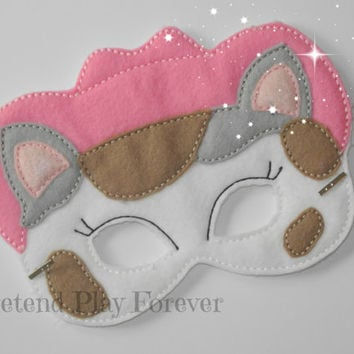 READY TO SHIP Sheriff Callie Inspired Pretend Mask, Felt Cowboy Cat Mask, Sheriff Callie Party Favors, Pretend Play, Imagination Toys