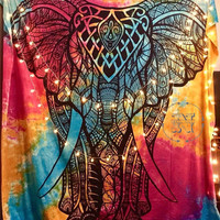 Mandala Elephant Tapestry Tye Dye Beach Blanket Boho Wall Hanging Hippy Dorm Gypsy Wedding Backdrop  Festival Hippie