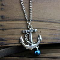 Ancient silver anchor necklace - necklace, alloy necklace, jewelry gift man glamour