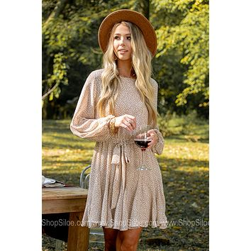 Carrying It Well Spotted Neutral Mini Dress