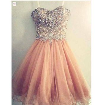 Short Beads and Tulle Prom Gowns Homecoming Dresses pst0132