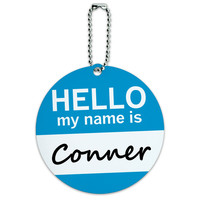 Conner Hello My Name Is Round ID Card Luggage Tag