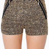Sequin Shorts W/ Zipper