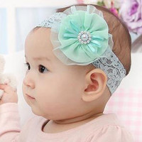 1 Baby Girls Lightblue Lace Flower Stretch Hair Headbands 18x4cm = 1705740804