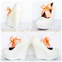 White Wedge Glitter Pumps, Wedding High Heels with Coral Bows
