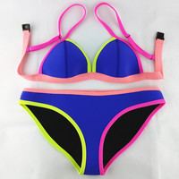 Swimwear Women Fashion Neoprene Bikini Woman New Summer 2016 Sexy Swimsuit Bath Suit Push Up Bikini set Bathsuit SC03