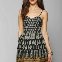 Band Of Gypsies Paisley Fit + Flare Dress- Blue Multi M
