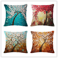 2016 New Pillow Hand Painted Tree And Flower Painting Cotton Linen Throw Pillow Cushion Free Shipping