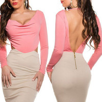 Pink Long Sleeve Cutout Backless Midi Bodycon Dress
