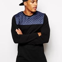 ASOS Longline Long Sleeve T-Shirt With Quilted Panel