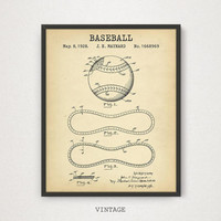 Baseball Ball Patent Print, Digital Download, Baseball Gifts, Mancave Wall Art, Baseball Poster Art, Sports Room Decor, MLB Baseball League