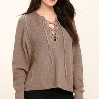 Yours Always Taupe Lace-Up Sweater