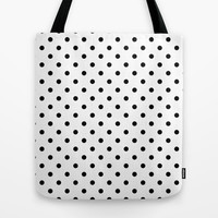 elegant, modern, trendy, cool, simple black and white polka dots graphic pattern. Tote Bag by PatternWorld