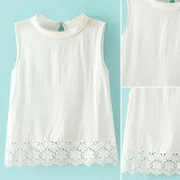 White Sleeveless Lace Tank Top