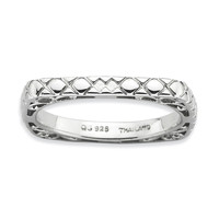 Sterling Silver Stackable Expressions Polished Rhodium-plate Square Ring: RingSize: 7