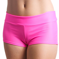 Neon Pink (Matte) Solid Color Booty Shorts
