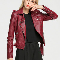 Wine Red Epaulet Lapel Zippered Biker Jacket With Belt