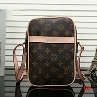 LV Leather Crossbody Satchel Shoulder Bag Brown Pattern I-LLBPFSH Tagre™