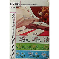 Embroidery Transfer Pattern Simplicity 5768 Vintage 1964 Flowers Sewing c426