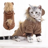 Autumn Winter Cat Costume Pet cat Coat Brown Lion Pet overalls  Teddy Chihuahua Puppy Dog clothes