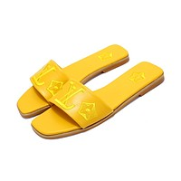 LV 2019 new embroidered letters wild female models beach sandals yellow