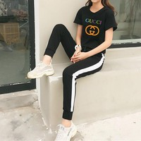 gucci women casual fashion multicolor letter logo print short sleeve t shirt trousers set two piece sportswear